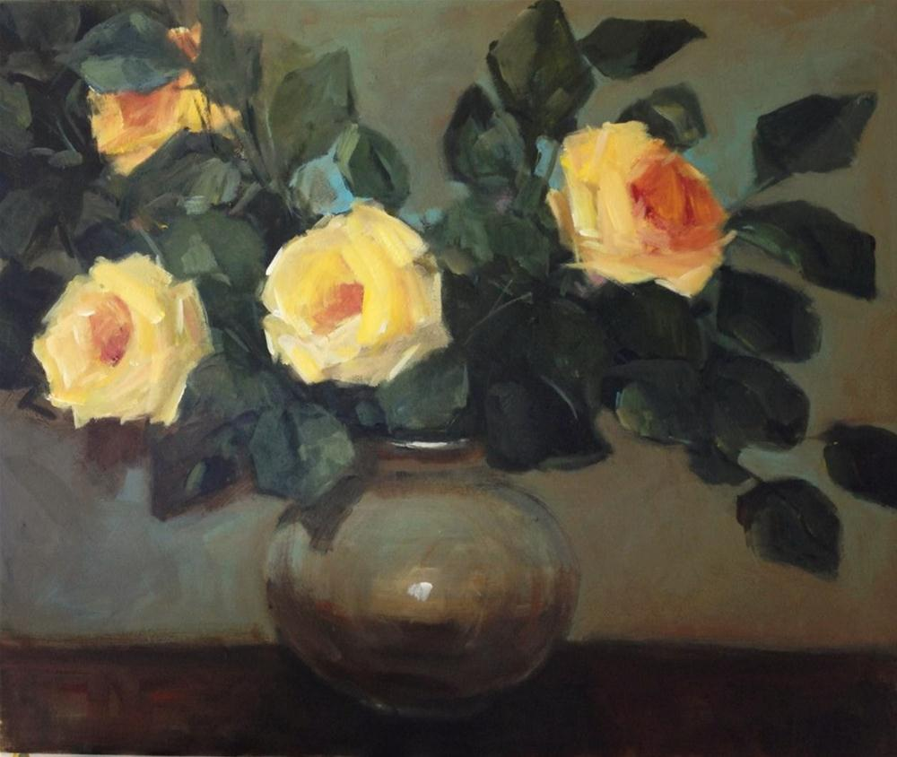 """Pot of golden roses"" original fine art by Parastoo Ganjei"