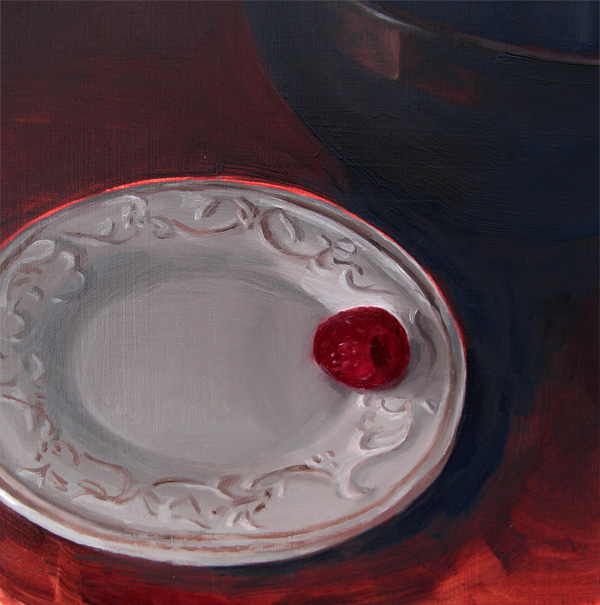 """Raspberry On China Plate(no.35)"" original fine art by Michael William"