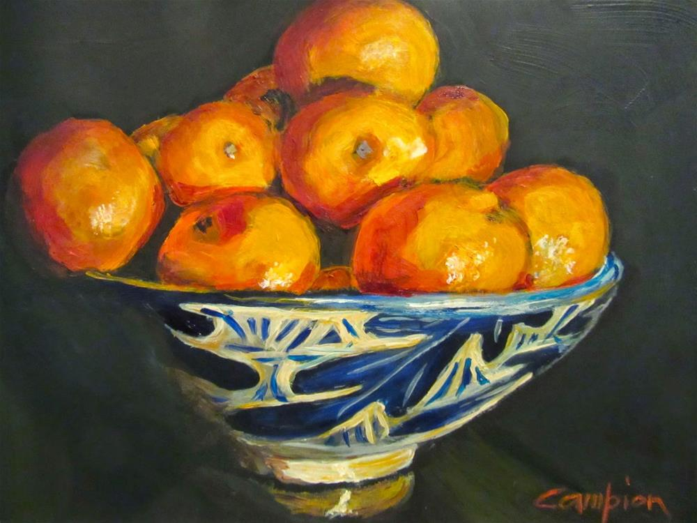 """522 Cuties in the Oak Leaf Bowl"" original fine art by Diane Campion"