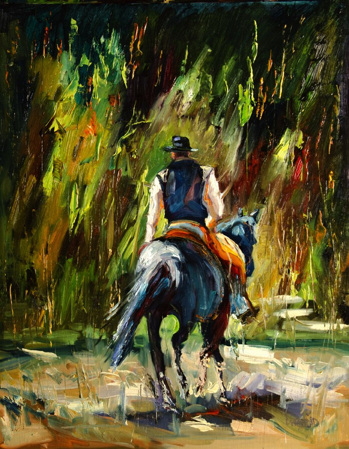 """ARTOUTWEST COWBOY ART DIANE WHITEHEAD REPOST SOLD!"" original fine art by Diane Whitehead"