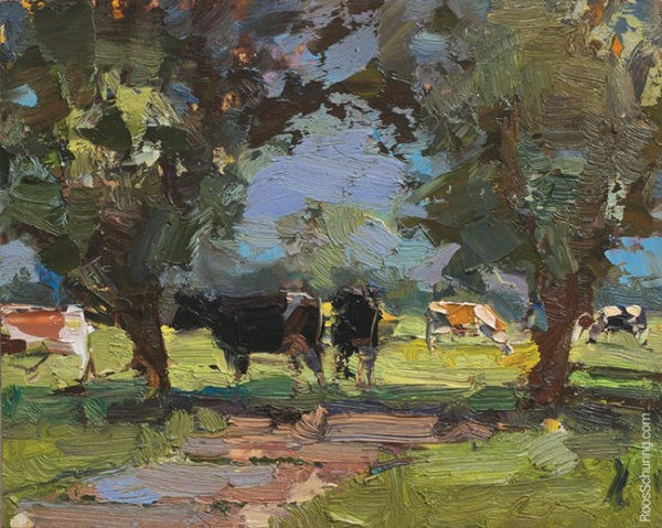 """Painting Cows in Shade"" original fine art by Roos Schuring"