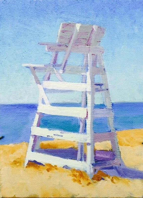 """West Meadow Beach Lifeguard Stand"" original fine art by Richard Doyle"