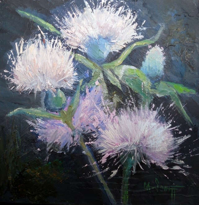 """Thistle Painting, Small Oil Painting, Daily Painting, Textured Art, Thistles by Carol Schiff, 8x8x"" original fine art by Carol Schiff"