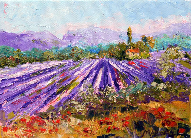 """Across the Lavender palette knife painting"" original fine art by Marion Hedger"