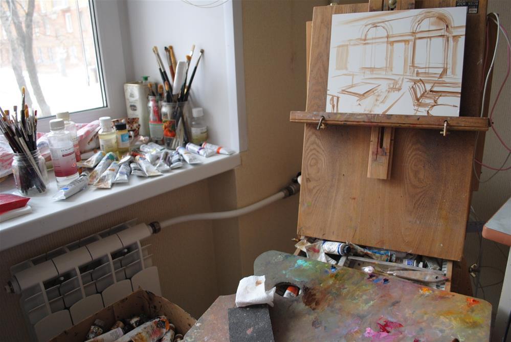 """The start of a painting..."" original fine art by Elena Katsyura"