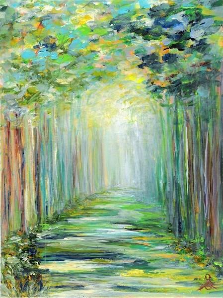"""""""3117 - Walking in Light - Trio Series"""" original fine art by Sea Dean"""