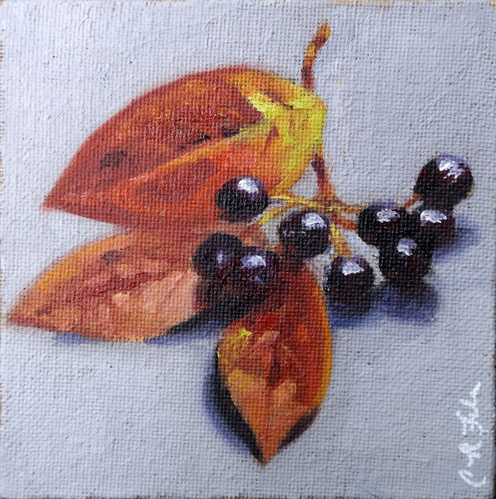 """Leaves and Berries"" original fine art by Chrystale Files"