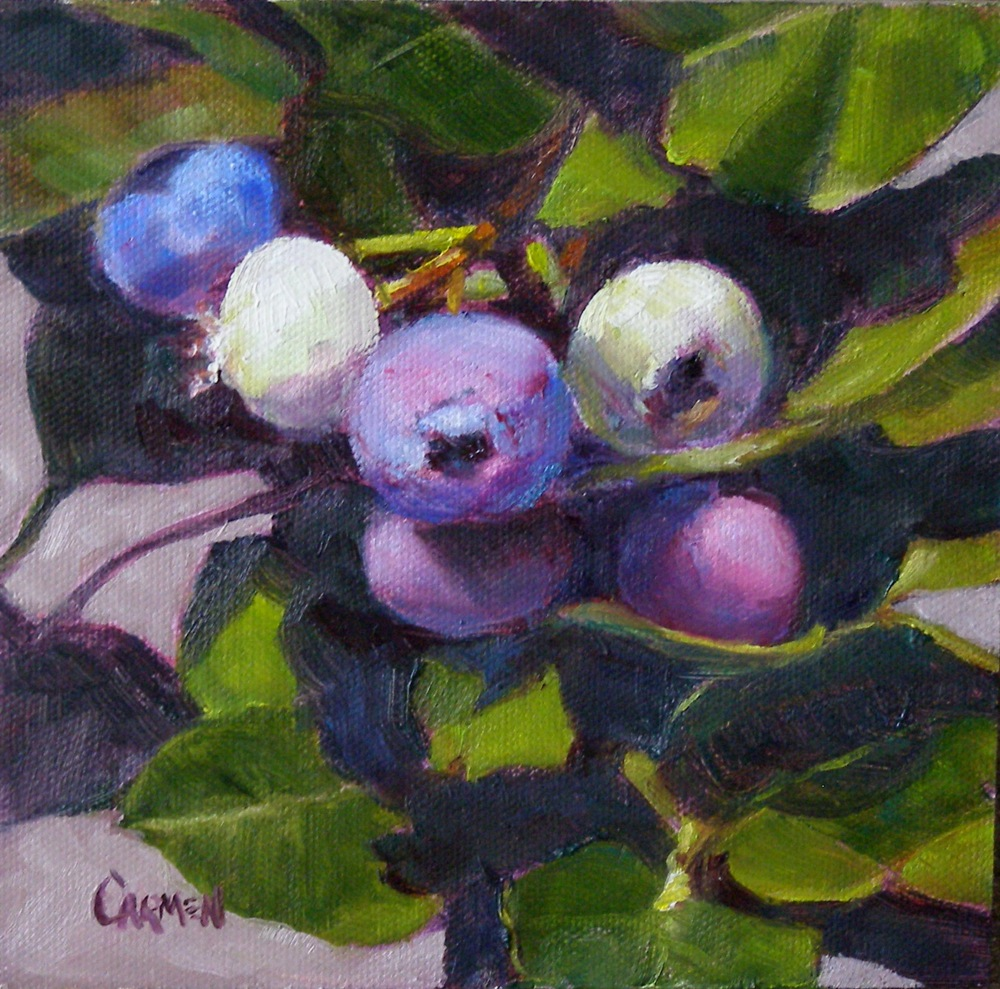 """My Blueberries"" original fine art by Carmen Beecher"