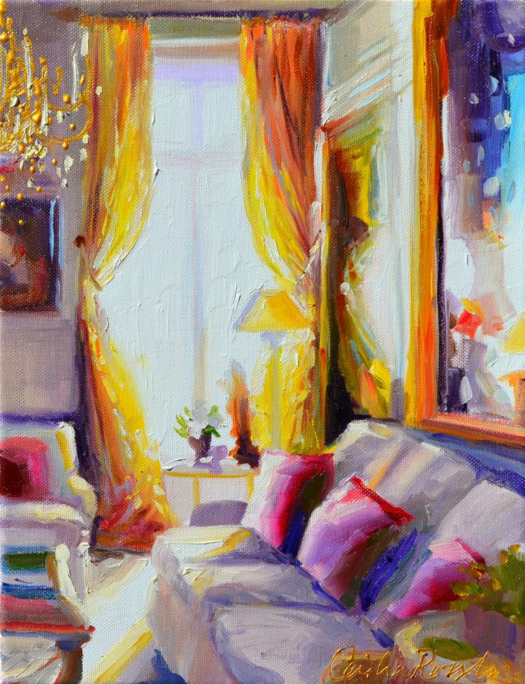 """PARISIAN CHATEAU INTERIOR"" original fine art by Cecilia Rosslee"