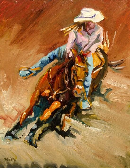 """BARREL RACER WESTERN COWGIRL DIANE WHITEHEAD FINE ART"" original fine art by Diane Whitehead"