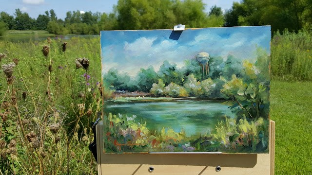 """Water Tower from Disney's Pond"" original fine art by Tammie Dickerson"