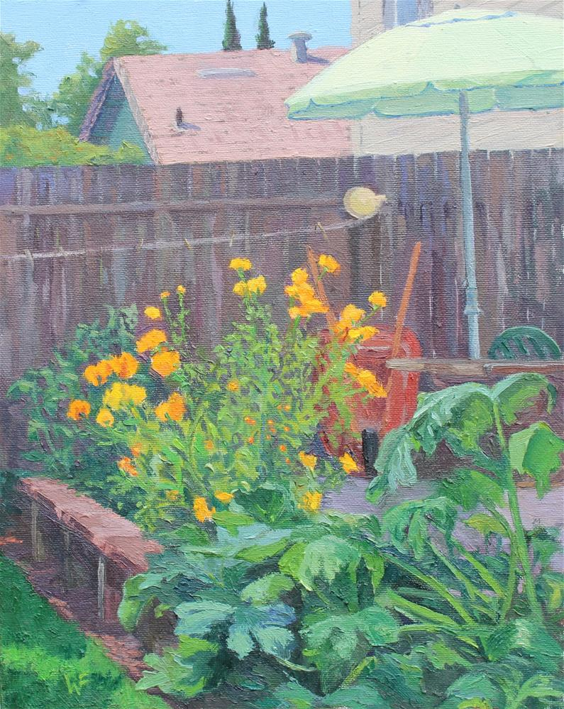 """Marigolds and Zuchinis"" original fine art by Wendy Franklin"