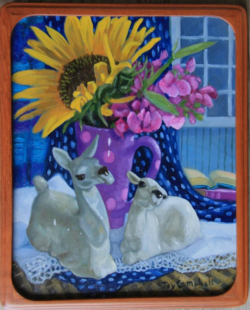 """Llamas and Sunflowers"" original fine art by Joy Campbell"