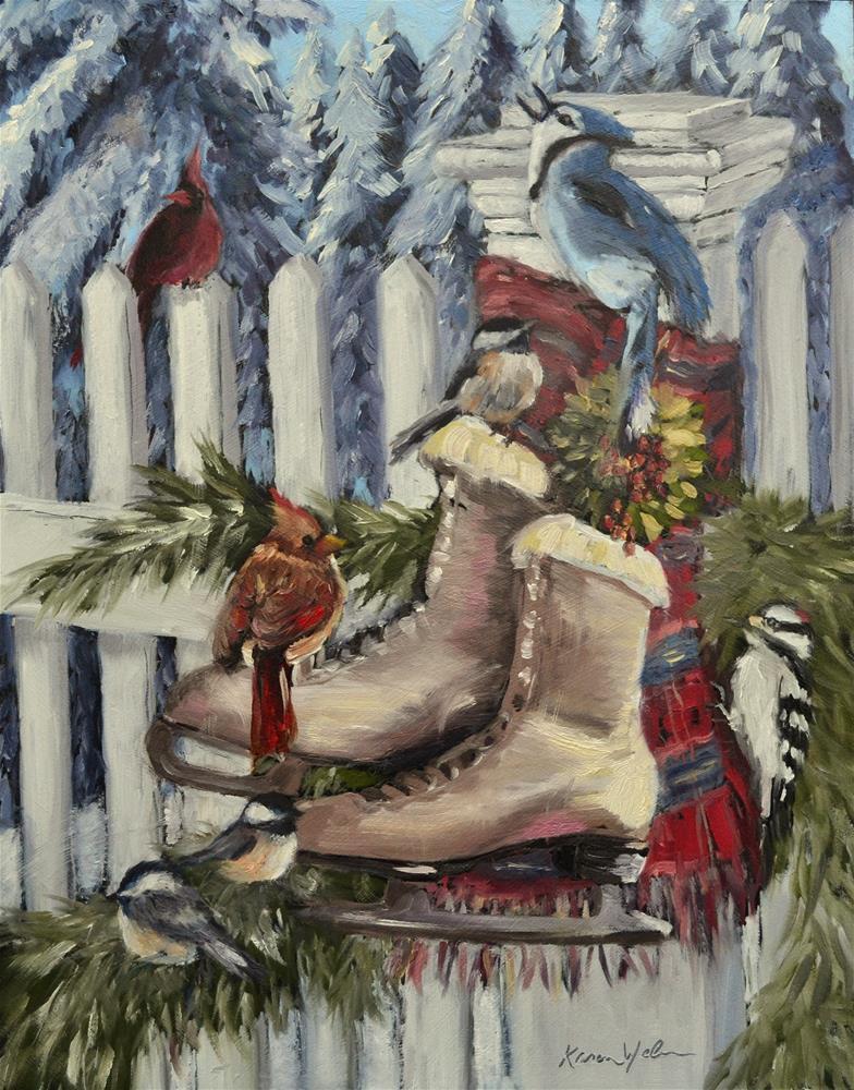 """""""Winter Birds"""" original fine art by Karen Weber"""