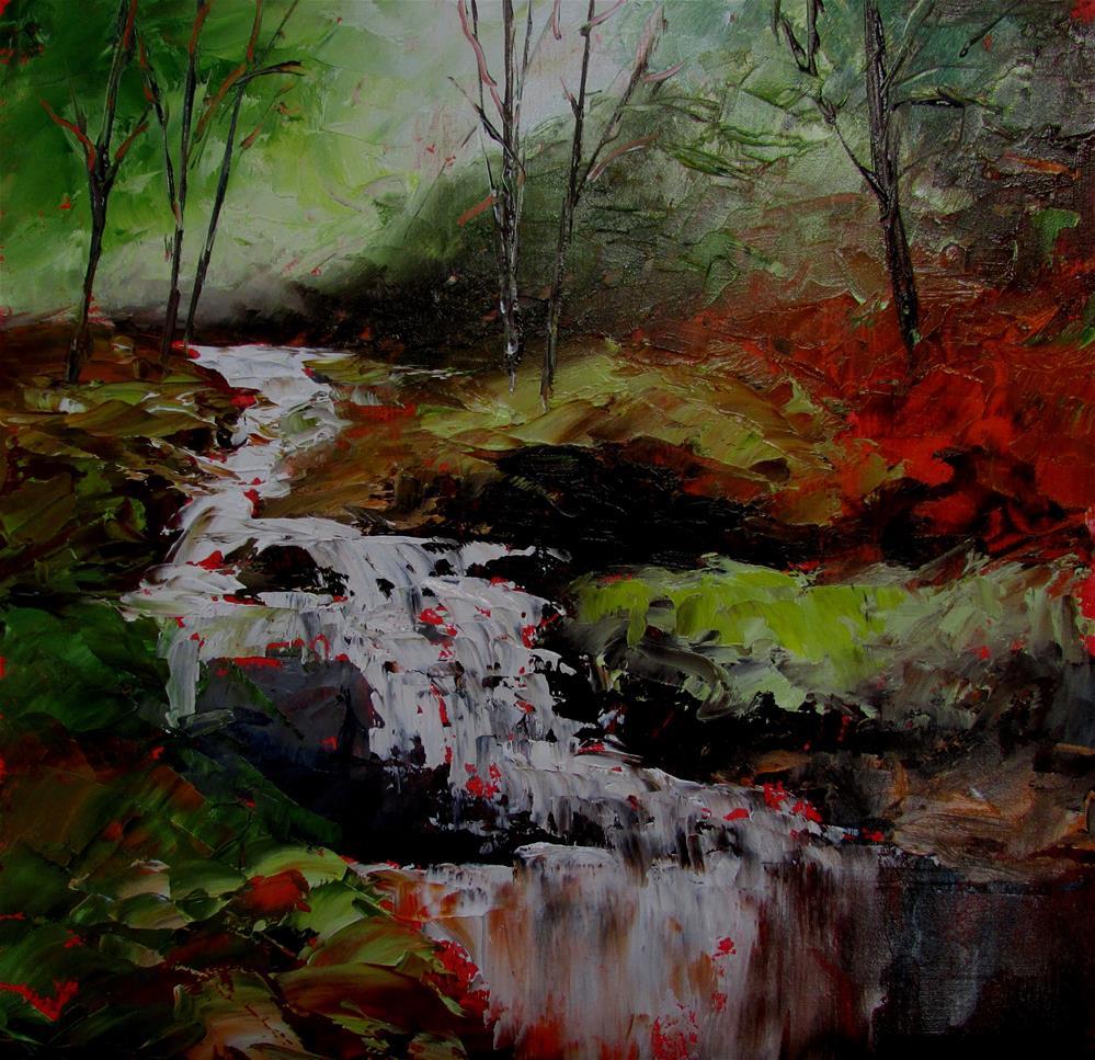 """8 x 8 inch oil Waterfall #3"" original fine art by Linda Yurgensen"