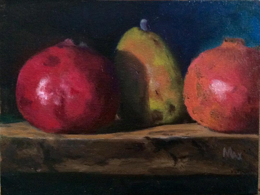 """Poms and pear"" original fine art by max moss"