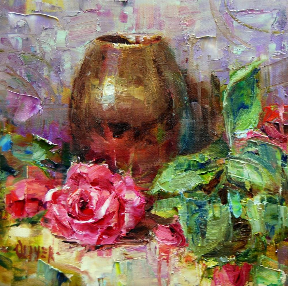 """Rose for the Fundraiser"" original fine art by Julie Ford Oliver"