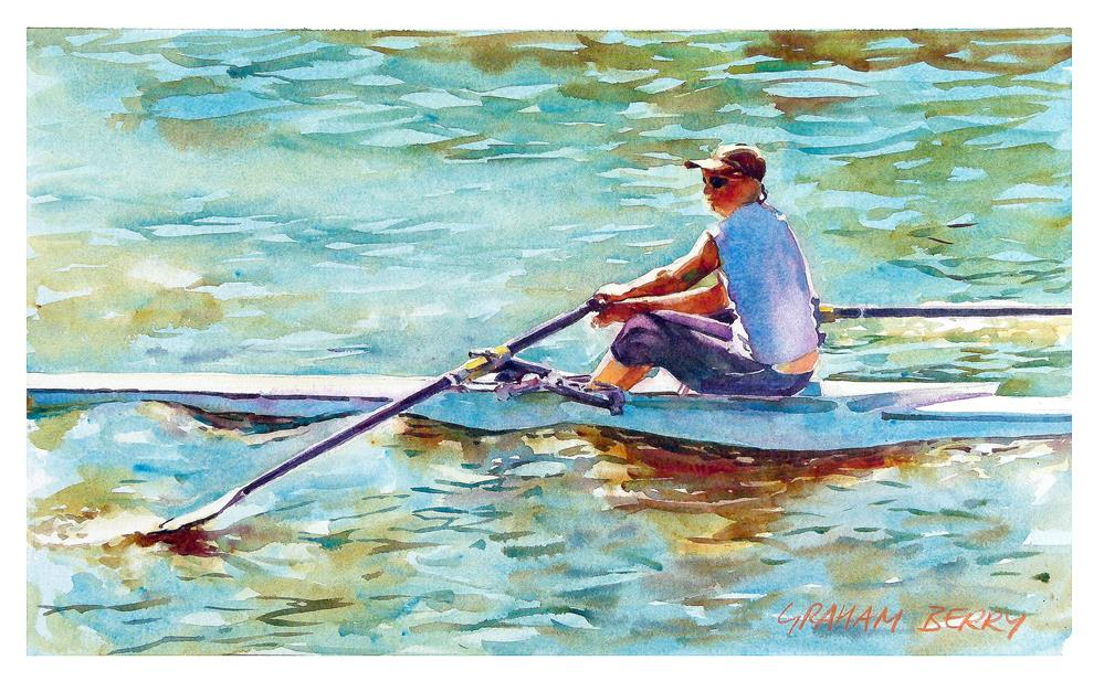 """Rowing on the Thames"" original fine art by Graham Berry"