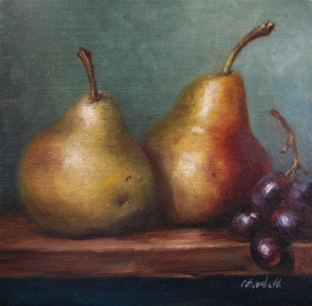"""""""Still Life with Pears and Grapes"""" original fine art by Carolina Elizabeth"""
