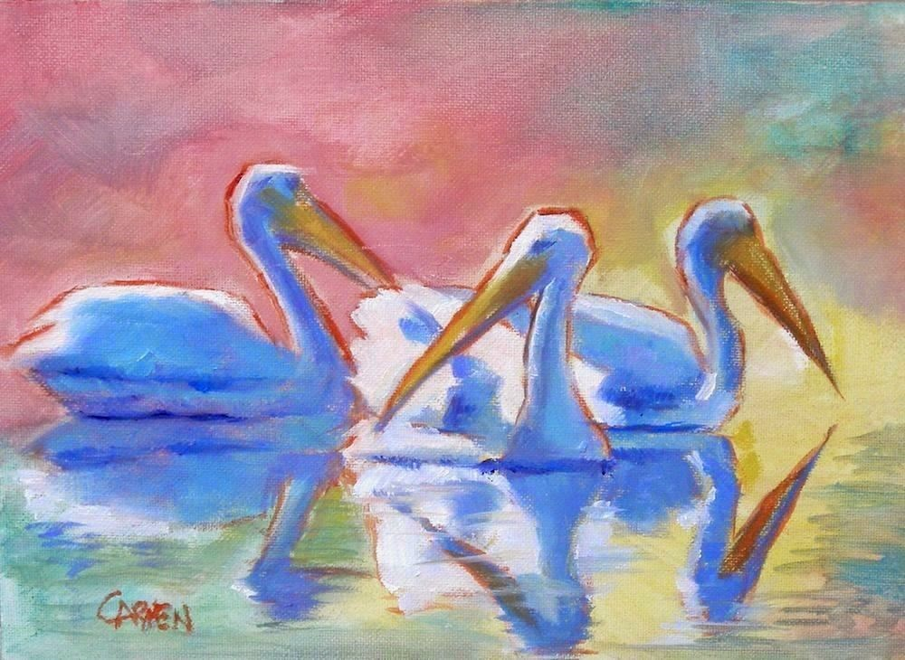 """Three Pelicans, 8x6 Oil on Panel"" original fine art by Carmen Beecher"