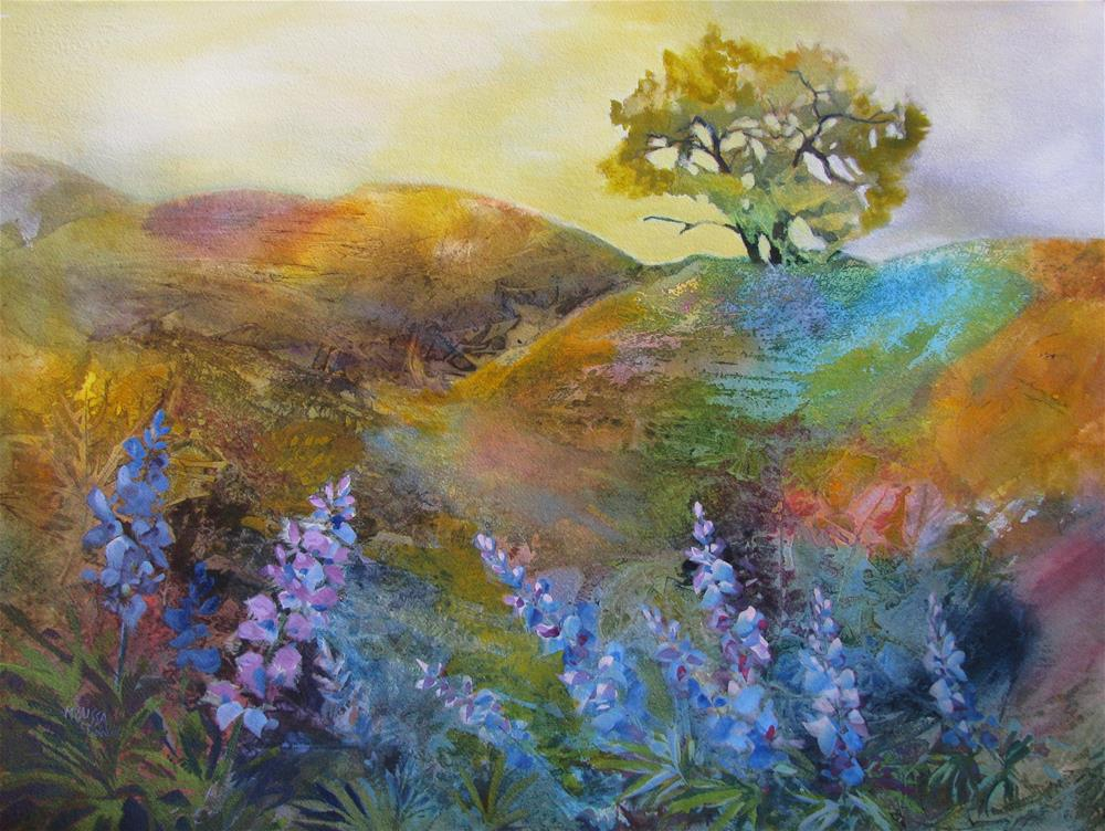 """Oak Tree & Lupine"" original fine art by Melissa Gannon"