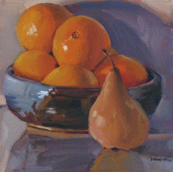 """Orange Bowl with Pear"" original fine art by Sarah Sedwick"