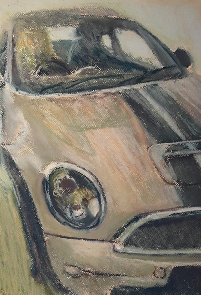 """Mini Cooper"" original fine art by Rentia Coetzee"