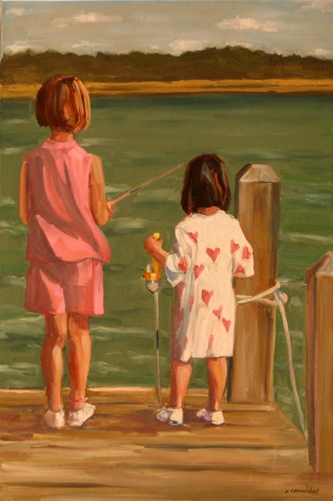 """pj fishing"" original fine art by Carol Carmichael"
