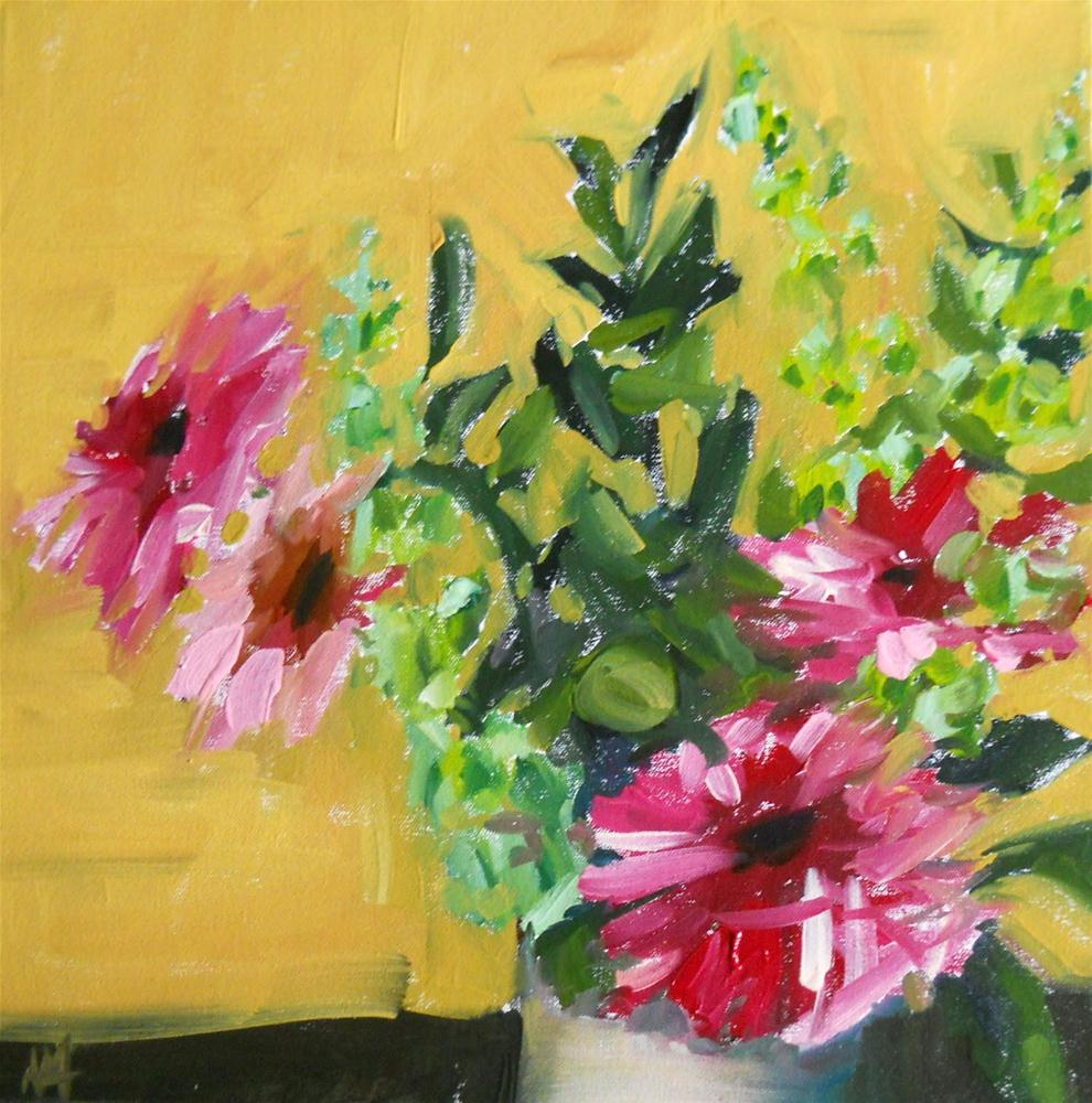 """gerbera daisies and bells of ireland no. 3"" original fine art by Angela Moulton"