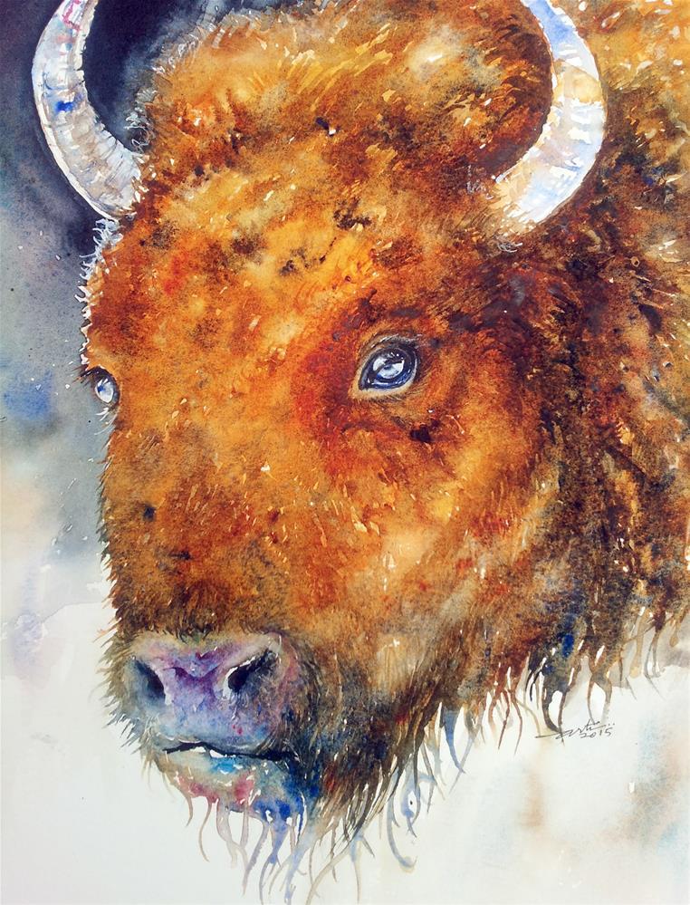 """""""The Dark Bison"""" original fine art by Arti Chauhan"""