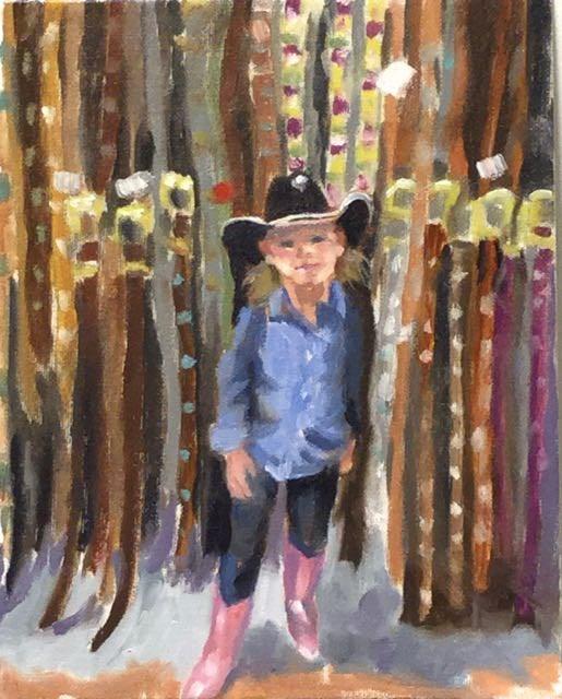 """""""Rhinestone Cowgirl"""" original fine art by Judy Elias"""