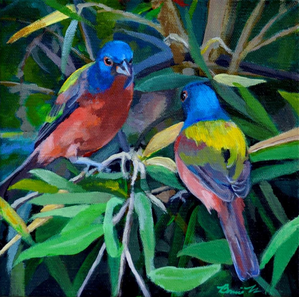 """Painted Buntings"" original fine art by Bonnie Masdeu"