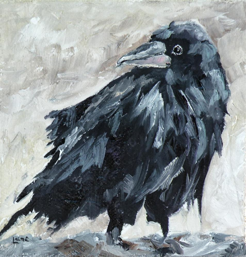 """LOOKING BACK - A RAVEN ORIGINAL OIL ON TEXTURED 1.5 DEEP GALLERY WRAP CANVAS © SAUNDRA LANE"" original fine art by Saundra Lane Galloway"