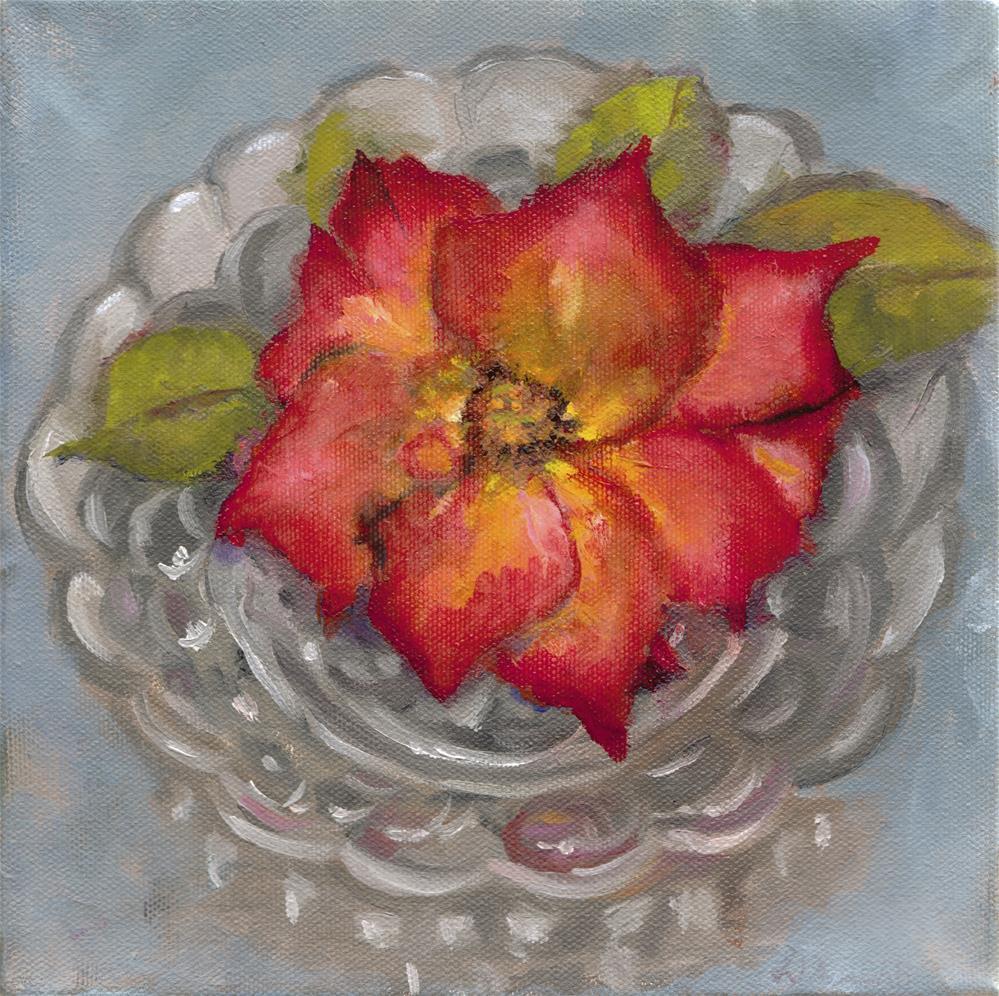 """Rose in a Glass Bowl"" original fine art by Linda Dunbar"
