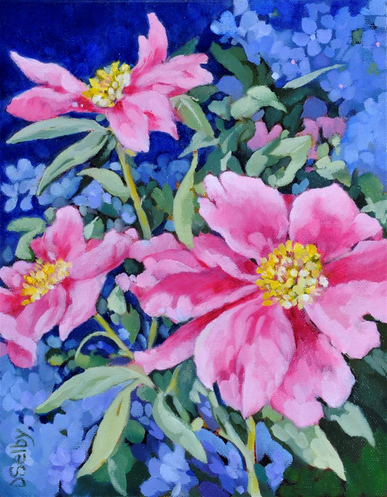 """Pink Peonies"" original fine art by De Selby"