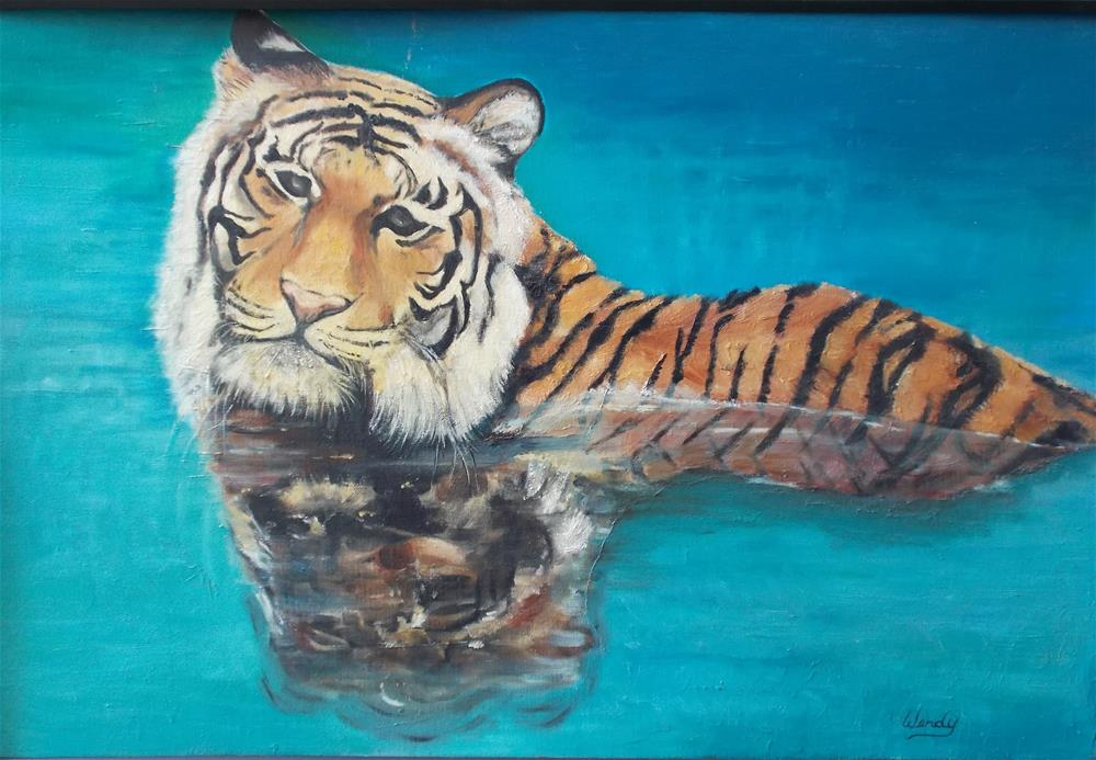 """""""Tiger in Water"""" original fine art by Wendy Athey"""