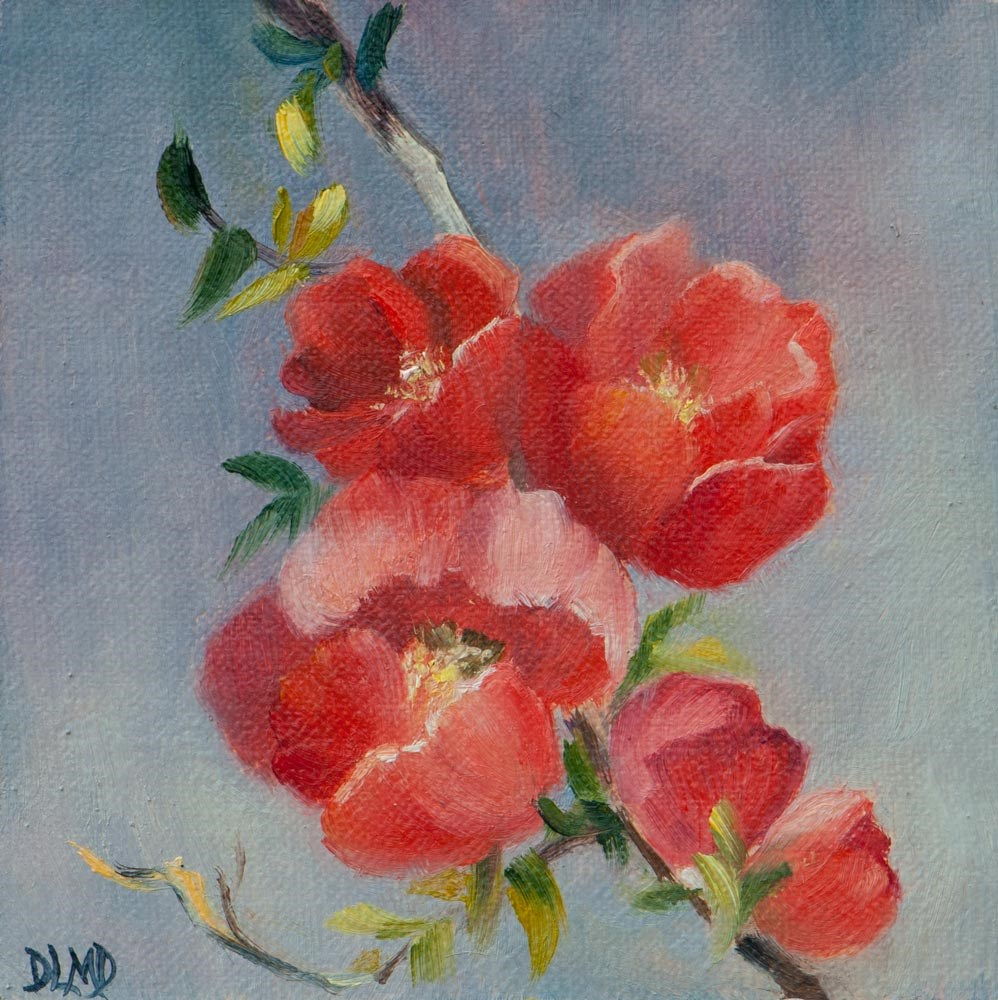 """Painting and Daily Sketch: Flowering Quince Buds"" original fine art by Debbie Lamey-Macdonald"