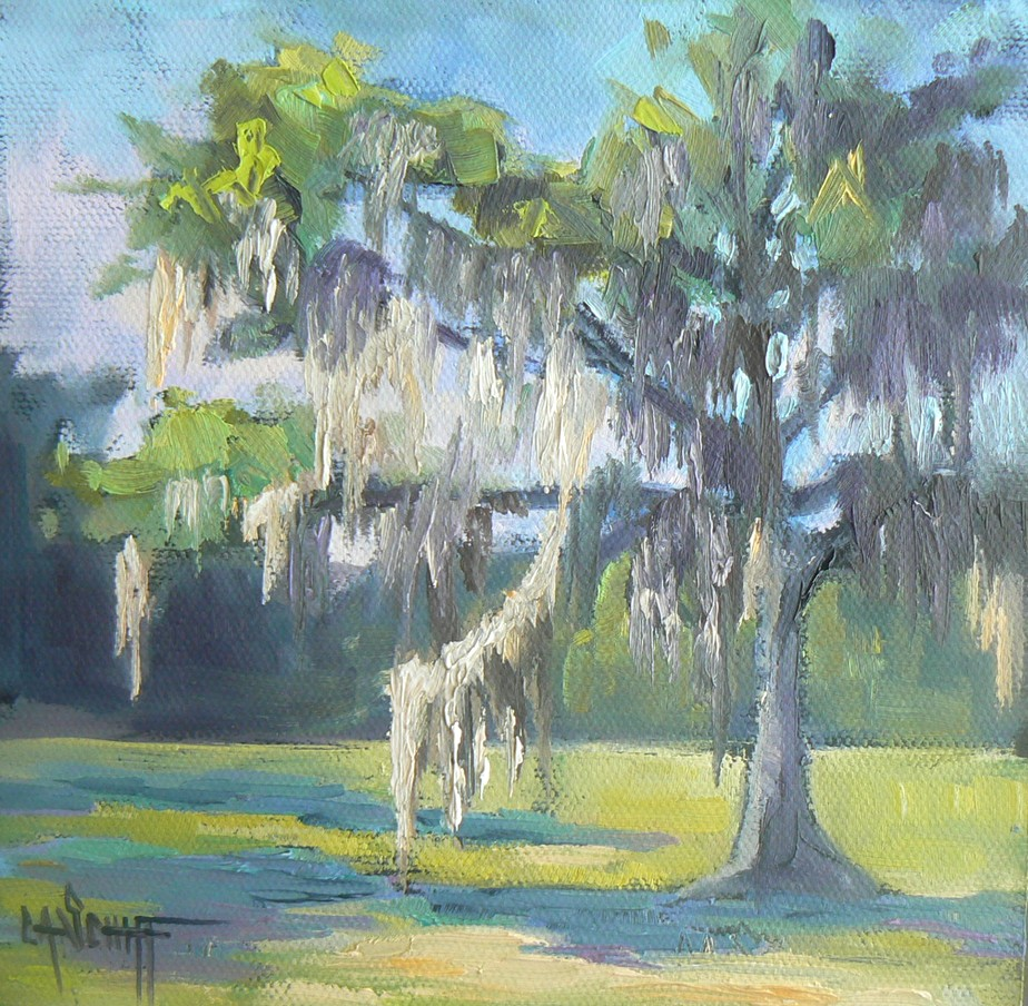 """Live Oak with Spanish Moss, 6x6, Oil"" original fine art by Carol Schiff"