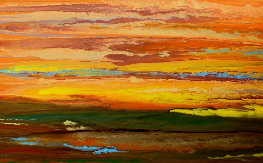 """Contemporary Abstract Landscape,Sunset Art Painting Blazing Sky Reflected III by ColoradoContempor"" original fine art by Kimberly Conrad"