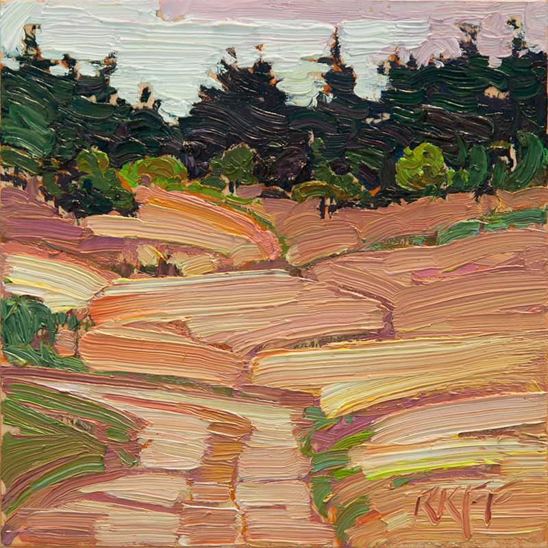 """Blenkinsop Fields: 6x6 oil on panel"" original fine art by Ken Faulks"