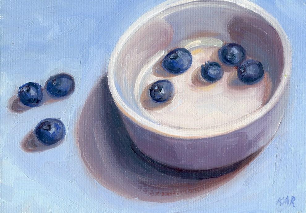 """""""Blueberries"""" original fine art by Kath Reilly"""