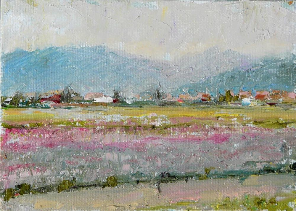 """Skagit Valley,landscape,oil on canvas,5x7,price$125"" original fine art by Joy Olney"