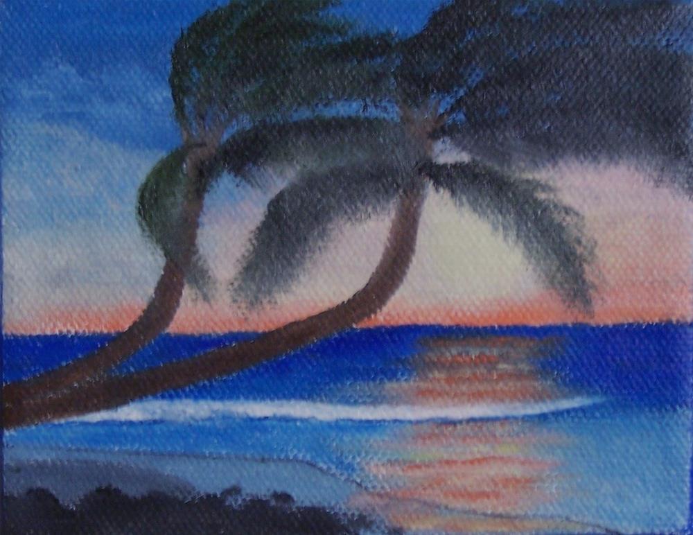 """Two palms at sunset"" original fine art by John Marcum"