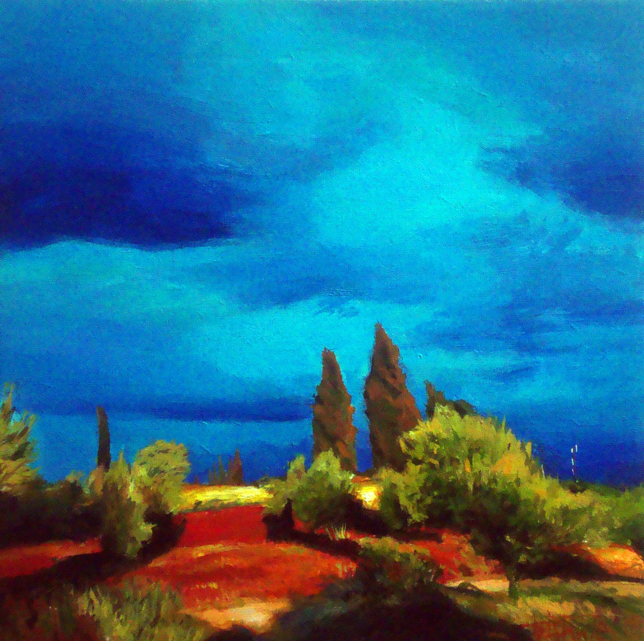 """Two  cypress"" original fine art by Víctor Tristante"