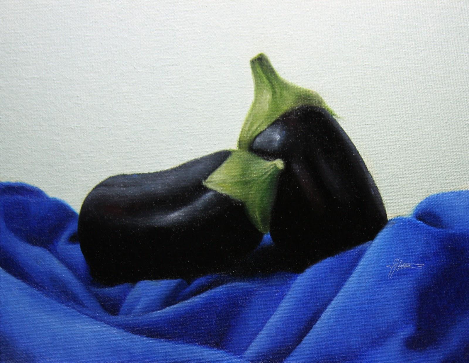 """Blue Eggplants"" original fine art by Jonathan Aller"