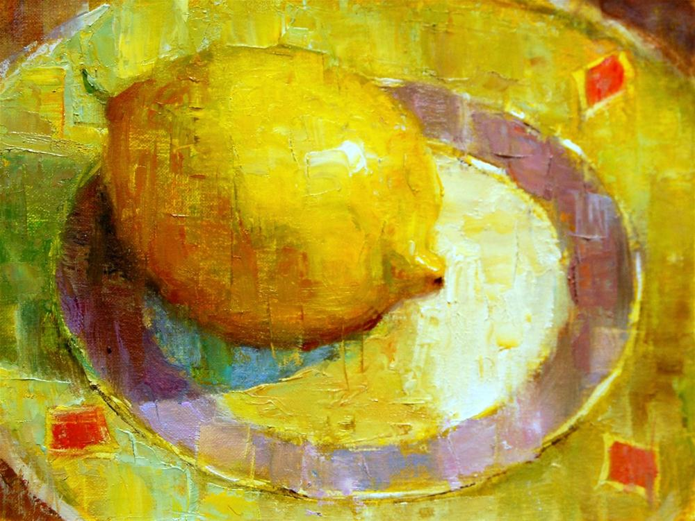 """Lemon on Saucer"" original fine art by Julie Ford Oliver"