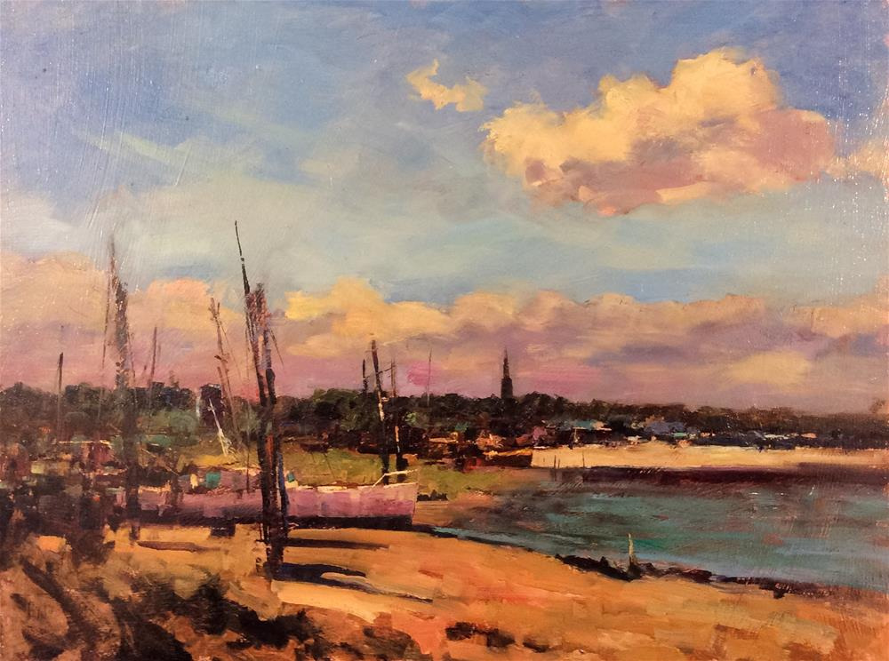 """""""Afternoon at Erith Sailing Club"""" original fine art by John Shave"""