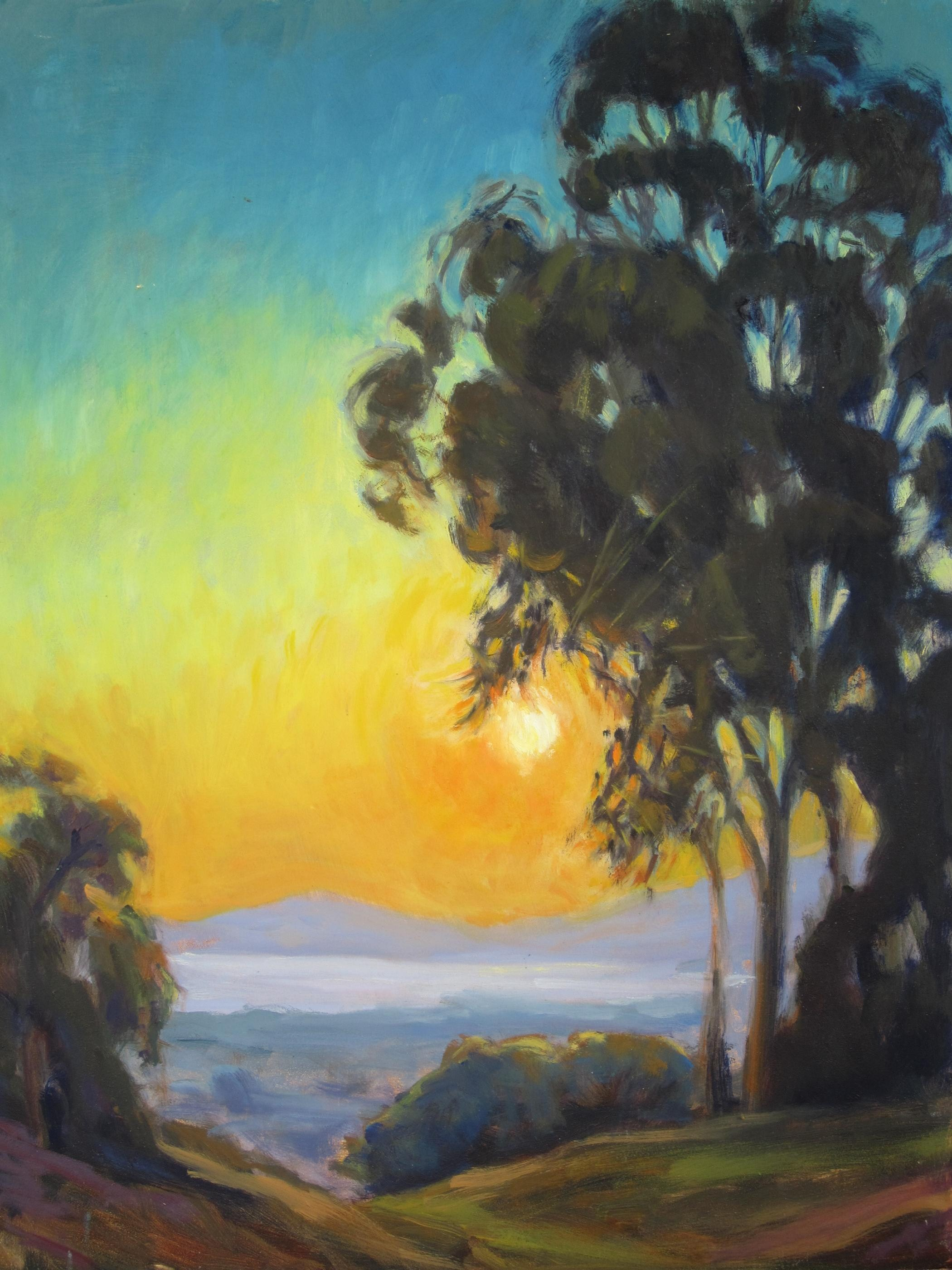 """Sunset over Santa Barbara"" original fine art by Leigh Alexandra Sparks"