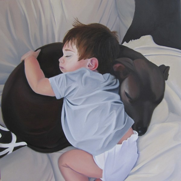 """Charlie and His Buddy Blue"" original fine art by Amy Hillenbrand"
