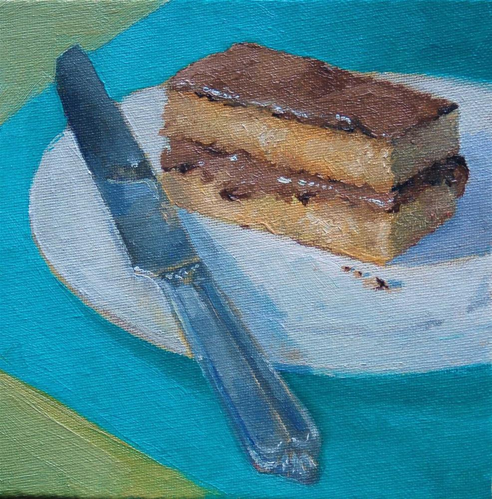 """slice of cake and a knife"" original fine art by V. DeBak"